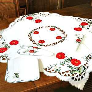 TABLECLOTH & NAPKINS, POPPY MOTIF