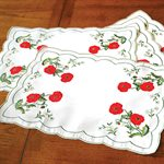 PLACEMATS, SET OF 4, POPPY MOTIF