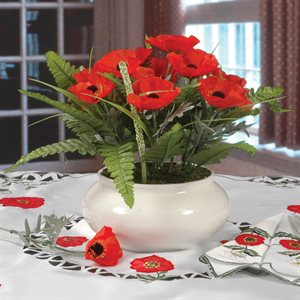 POPPY SILK ARRANGEMENT WITH VASE