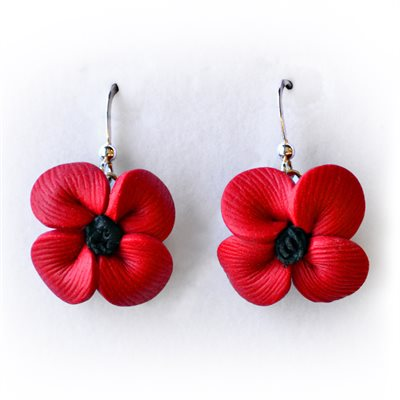 POPPY DROP EARRINGS, CLAY
