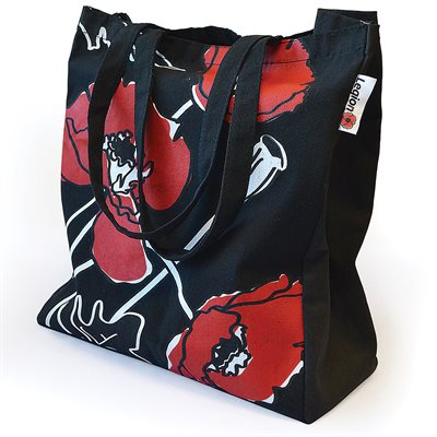 POPPY CANVAS SHOPPING TOTE BLACK