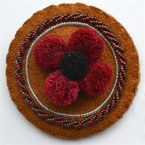 CARIBOU TUFTED & BEADED POPPY BROOCH