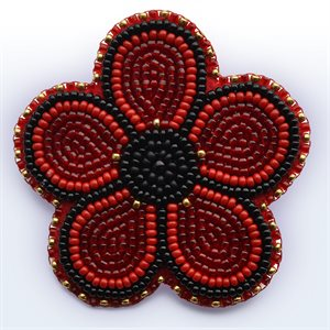 5-PETAL BEADED POPPY BROOCH