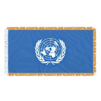"DRAPEAU NATIONS UNIES 54"" X 27"" MANCHON & FRANGE"