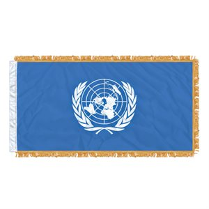 "FLAG UNITED NATIONS 54"" X 27"" SLEEVED & FRINGED"