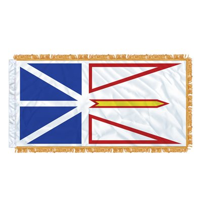 "FLAG NEWFOUNDLAND AND LABRADOR  54"" X 27"" SLEEVED & FRINGED"