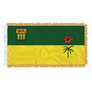 "FLAG SASKATCHEWAN  54"" X 27"" SLEEVED & FRINGED"