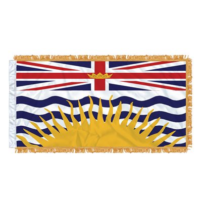 "FLAG BRITISH COLUMBIA 54"" X 27"" SLEEVED & FRINGED"