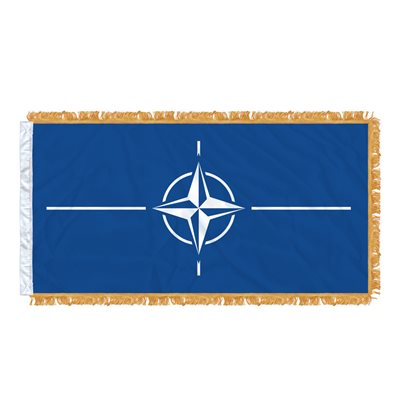 FLAG NATO 6' X 3' SLEEVED & FRINGED