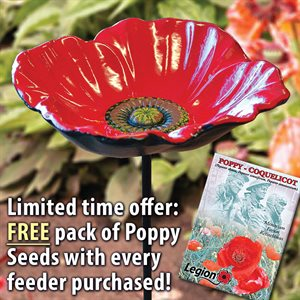 "POPPY BIRD FEEDER WITH FREE POPPY SEED PACKET (5 ¾"" DIAMETER DISH)"